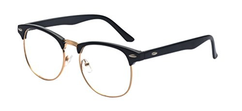 Outray Vintage Retro Classic Half Frame Horn Rimmed Clear Lens Glasses for Men Women 2135c1 Black/Gold