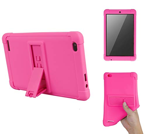 """Onn 7 inch Tablet Case, [Kickstand] Shockproof Silicone Case Cover + PC Tablet Bracket Stand Case for Onn 7"""" Tablet (Rose Red)"""