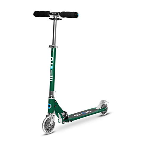 Micro Kickboard - Sprite LED, 2 Wheeled, Fold-to-Carry, Lightweight Swiss-Designed Micro Scooter with Light-Up Wheels for Children and Adults, Ages 8+, Forest Green