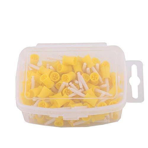 Goma de pulido Dental -100 unids/set pulidora de goma de pulido Dental taza de eliminación de manchas de dientes blanqueamiento herramienta de dentista(Amarillo)