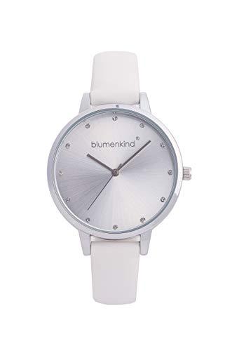 Blumenkind Uhr London Stahl/weiß m. Kunstlederarmband