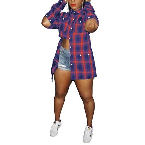 Fainash Camisa a Cuadros para Mujer, diseño de Costura con Personalidad, Ropa de Calle, Tendencia de Moda, botón múltiple, Informal, Informal, al Aire Libre, Camisa Suelta, Parte Superior M
