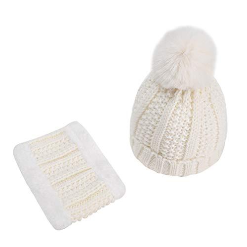 SOIMISS Sombrero de Bebé Conjunto de Bufanda Niños Gorro de Punto Cálido Gorro de Pompón con Pañuelo para El Cuello de Punto Niño Cálido Orejeras Gorras de Punto para Niños