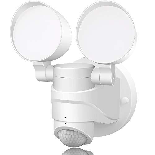 Motion Sensor Outdoor Light, LED Security Flood Lights Dusk to Dawn 5000K Daylight White 100-130V AC, IP65 Round Dual-Head Wall Light for Driveway/Garage/Porch/Yard, GLEEBOM