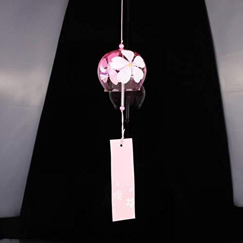 FXG Handbemalte Sakura Glas Windspiele Wind Japan Stil Glocken hängen Dekoration Hausgarten Büro Handwerk hängen Zubehör, A1