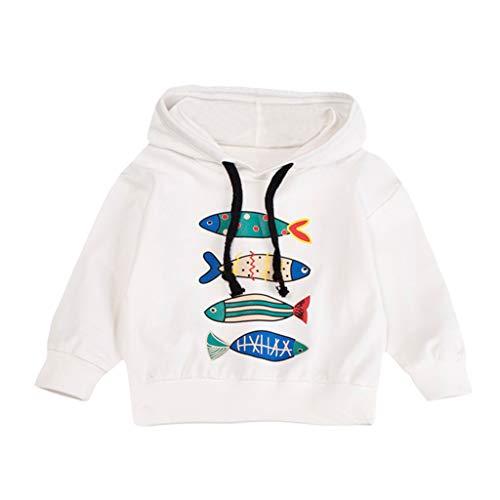 Süßes Junge T-Shirt Oberteil Herbst Lange Ärmel Mit Kapuze Strickjacke des Cartoon Fisch drucken Trend Komfortabel Koreanisches Pullover Warm halten Übergang Kinderkleidung Top