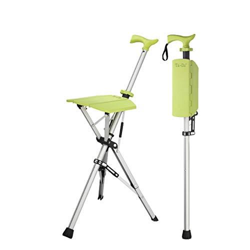 Ta-Da Chair Folding Aluminium Tripod Cane Chair Portable Walking Stick for Elderly Outdoor Travel Rest Stool Folding Chair (85cm) (Lime Green)