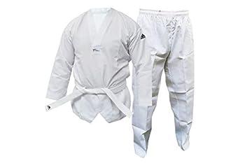 adidas Kids/Adult s WT Taekwondo Student Dobok Without Stripes Martial Arts WTF Children Uniform White 160cm