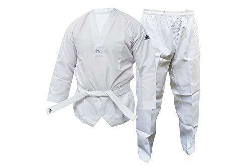 adidas - Dobok para niños y Adultos WT Taekwondo Estudiante sin Rayas Artes Marciales WTF Uniforme, Blanco, 150 cm