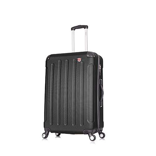 DUKAP Intely 28 Inch Medium Spinner Suitcase with Ergonomic GEL Handle, Hardside Travel Luggage with TSA Combination Lock and Digital Weight Scale, Black