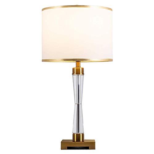 Lámpara de mesa para dormitorio, moderna europea, lámpara de mesita de noche para dormitorio, lámpara de decoración de salón de lujo, pantalla de tela blanca y cuerpo de cristal transparente