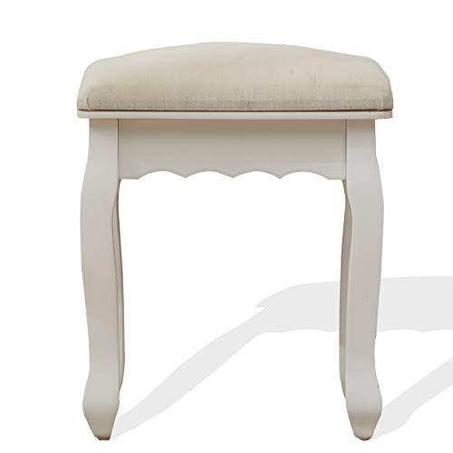 Rebecca Mobili Sgabello Sedia Imbottito Decorato Legno Bianco Argento Provenzale Camera Bagno - Misure: 50x40x30 cm (HxLxP) - Art. RE4153