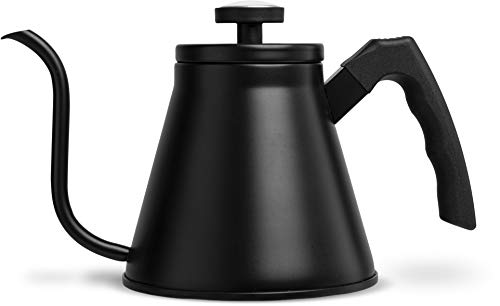 Gooseneck Stovetop Kettle, by Kook, with Thermometer, Pour Over, Triple Layered Base, Black, 27oz