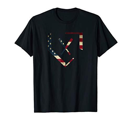 Home Plate Baseball Bats American Flag T-Shirt Baseballin