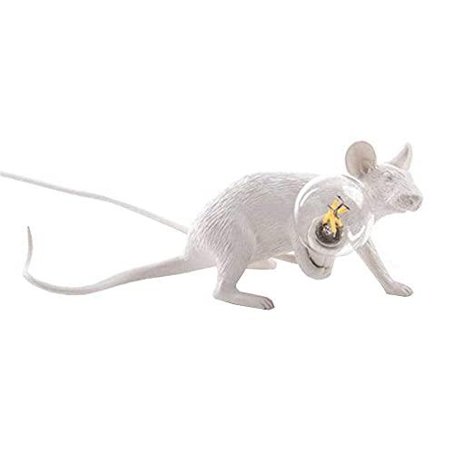 LLLKKK Mini mouselamp lampada da tavolo Nordic Creative Soggiorno, sala da pranzo, camera da letto, negozio, protezione degli occhi, in resina, colore: bianco