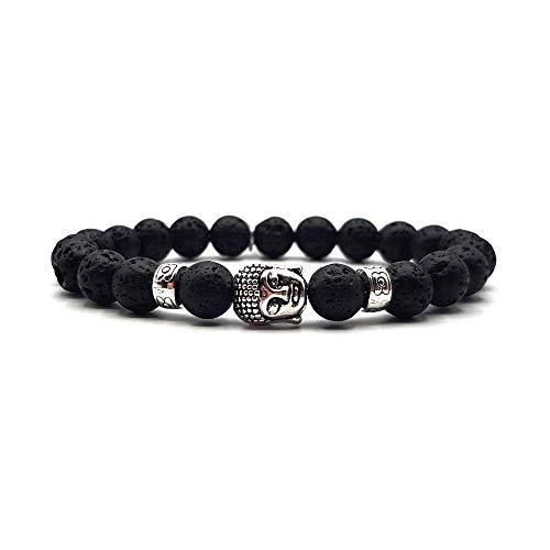 KARDINAL WEIST lava cuentas pulsera con cuentas de buda, joyas de yoga para mujeres y hombres, chakra brazalete (Vestili)
