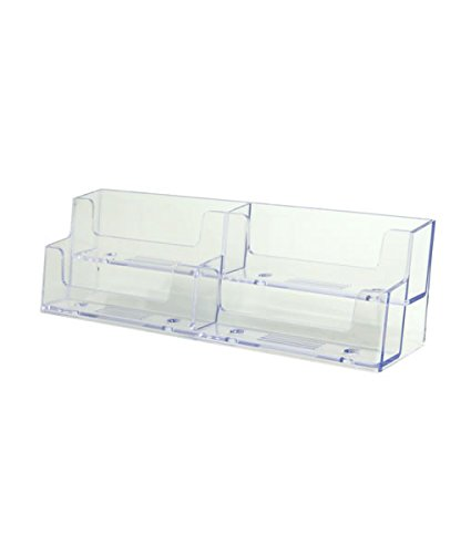 Source One Deluxe 4 Pocket 2 Tier Clear Business Card Holder Acrylic (XDEEP4PCLBC)