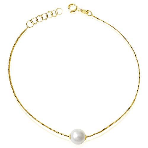 MILLE AMORI ∞ Pulsera Mujer Oro, longitud ajustable 18/17/16 cm, Perla 6.0 mm - Oro Amarillo 9 Kt 375 - malla Veneciana 17 cm