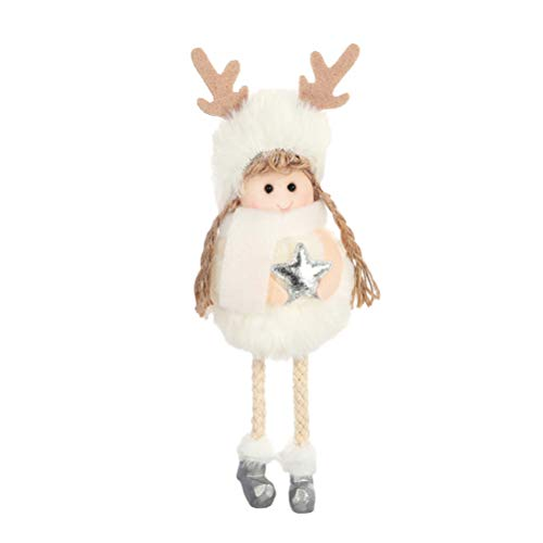 Amosfun Kerstmis opknoping hanger schattig pluche engel pop opknoping kerstboom open haard raam opknoping ornament kerstfeest decoratie (witte sneeuwvlok)