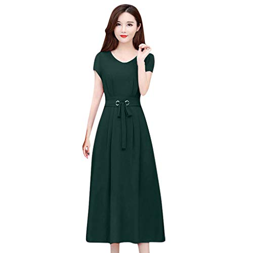 For Sale! ZOMUSAR Fashion Short-Sleeved Dress Plus Size Women's Waist was Thin and Long Skirt