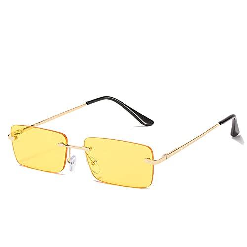 Gosunfly Gafas de sol para mujer, personalidad de la moda europea y americana, gafas de metal sin marco, gafas con montura dorada, película púrpura