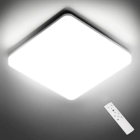 NIXIUKOL Plafonnier Led 24W, Luminaire Plafonnier avec télécommande, couleur de lumière et luminosité dimmable, IP54 Imperméable Plafonnier industriel salon chambre salle de bain cuisine 28cm