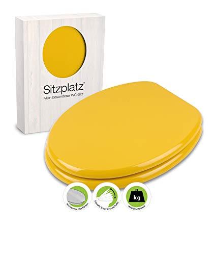 SITZPLATZ® WC-Sitz Venezia in gelb, mit Metallscharnieren und robustem Holzkern, Toilettensitz in Standard O-Form universal, mit Holz-Kern, Klobrille und Klodeckel in gelb, 21895 5