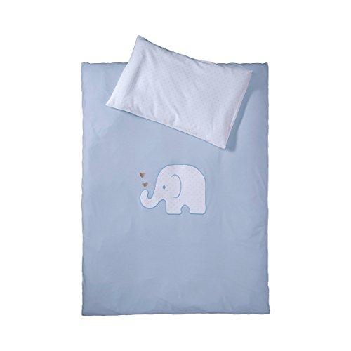 BORNINO HOME Parure de lit éléphant 40x60 / 100x135 cm, bleu
