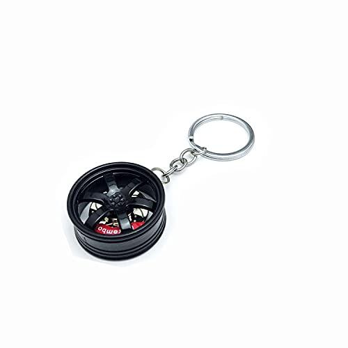 Llavero creativo de llanta de rueda modelo llavero mini neumático de coche llavero miniatura decoración colgante, Negro, Talla única