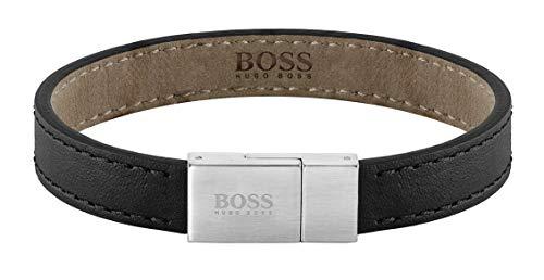 BOSS Herren-Herrenarmband Leather Essentials Edelstahl/Leder M Schwarz 32012841
