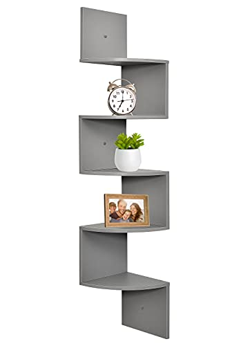 Corner Shelf, Greenco 5 Tier Floating Shelves for Wall, Easy-to-Assemble Wall Mount Corner Shelves for Bedrooms and Living Rooms, Gray Finish