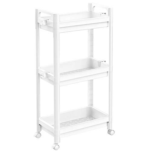 SOYO - Carrito organizador de 3 niveles con ruedas para baño, organizador de estantes de baño, carrito de lavandería delgado con...