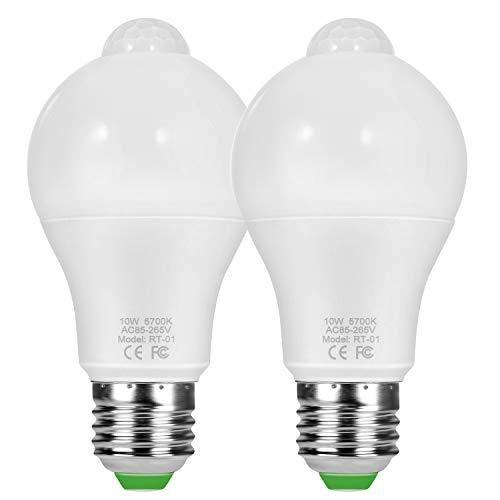 Adoric Intelligente Lampe LED E26/E27 10W 5700K mit Bewegungsmelder Fotozellensensor Intelligente Sensorlampe Glühbirne, Automatische Glühbirne für Haustür Balkon Garage Treppen, 2 Pack,Kaltweiß