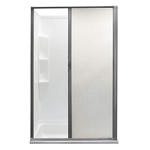 RV Retractable Rolling Shower Door | Platinum | RV Shower Door | Woven Mesh with Vinyl | Replacement Shower Door (36' x 67')
