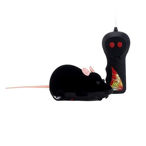 Juguete Divertido del Gato Simulación de Control Remoto bidireccional Animal Flocado Ratón Niño Juguete OPP (Negro) ESjasnyfall