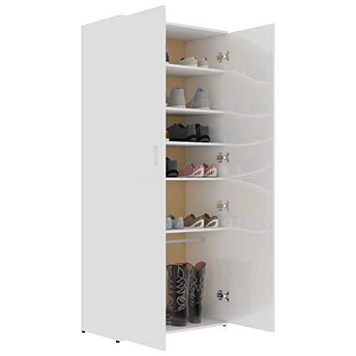 GOTOTOP Zapatero de 80 x 39 x 178 cm con 2 puertas, 6 estantes y una barra suspendida, de aglomerado, para entrada y dormitorio, color blanco brillante