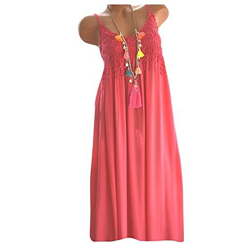XWANG Vestido de verano para mujer, sin mangas, escote en V, vestido de encaje, largo hasta la rodilla, para el tiempo libre Rosa. XL