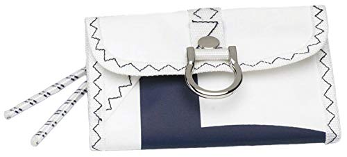 Sea Wallet Portemonnaie aus Segeltuch Weiß/Marineblau mit schwimmfähigem Schlüsselanhänger