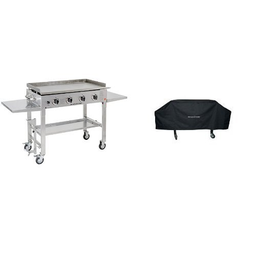Blackstone 36 inch Stainless Steel Outdoor Flat Top Gas Grill Griddle Station - 4-burner - Propane Fueled - Restaurant Grade - Professional Quality with Cover