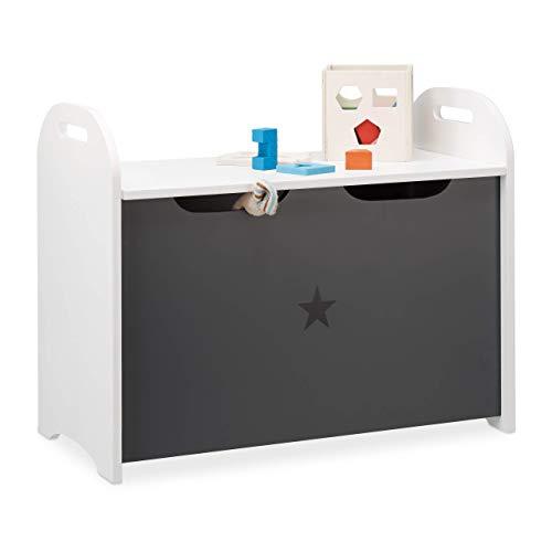 Relaxdays Baúl Juguetes, Banco Infantil, Caja Almacenaje para Niños, Diseño de Estrella, DM, 47x57x30 cm, Blanco y Gris