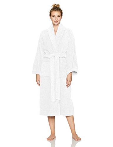 Amazon Brand – Pinzon Terry Bathrobe 100% Cotton, White, Small / Medium