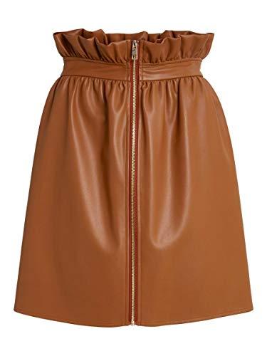 Vila VIJOSEP Coated Short Zipper Skirt/KA Falda, Beige, 42 para Mujer