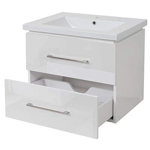Mendler Premium Waschbecken + Unterschrank HWC-D16, Waschbecken Waschtisch, Hochglanz 60cm ~ weiß