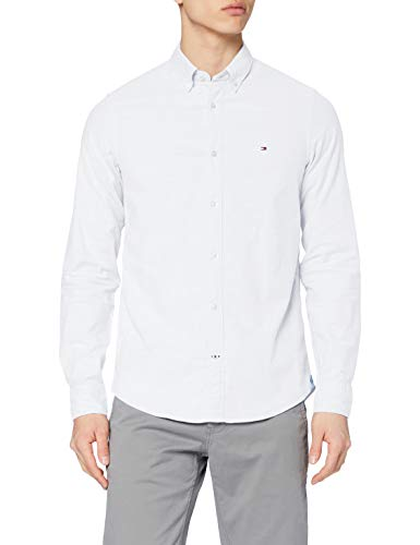 Tommy Hilfiger Core Stretch Slim Oxford Shirt Camicia, Bianco (Bright White 100), Small Uomo