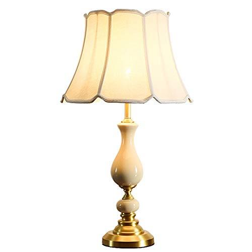 LCSD Lámpara de escritorio de cobre de cerámica grieta lámpara de mesa cálida romántica sala de estar dormitorio lámpara nórdico creativa personalidad sencilla lámparas 41 x 71 cm