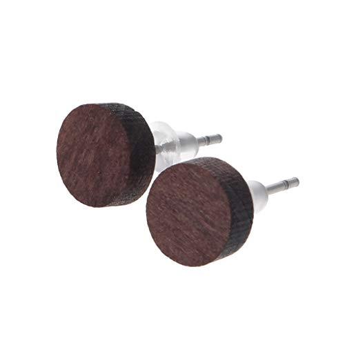 Bola redonda geométrica corazón cruz minúsculos pendientes de madera decoración de joyas