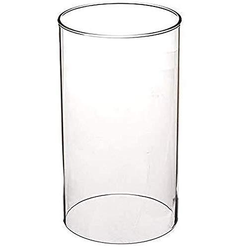 JY&WIN Portavelas Hurricane de Vidrio, jarrón cilíndrico de Vidrio de Extremo Abierto, Pantalla de lámpara de Vidrio Transparente para Bodas, Fiestas, SPA Transparente 12x20cm (5x8 Pulgadas)
