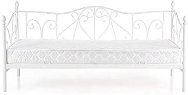 Lit/canapé en métal Blanc Sumatra, 200 x 90 cm