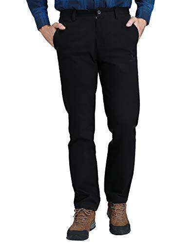 CAMEL CROWN Herren Arbeitshose Slim Fit Washed Latzhose Kleid Hose Twill Flat-Front Chino Hose für Männer (Marineblau, 40W x 33L)