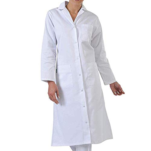 Fannyfuny Abrigos Mujeres Bata de Laboratorio Médico Abrigo Blanco Adecuado para Estudiantes de la Escuela Laboratorio de Ciencia Enfermera Cosplay Vestido